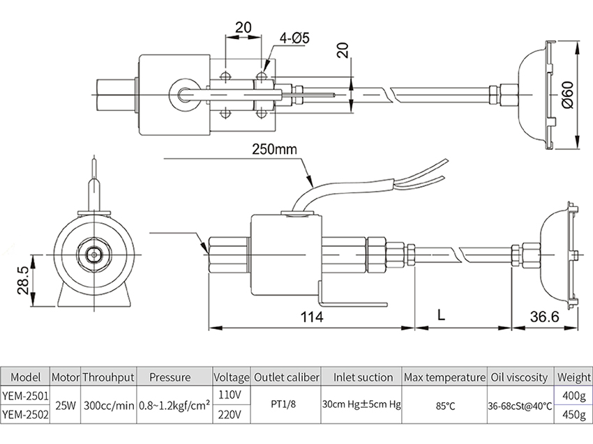 Electromagnetic Pump dimensions