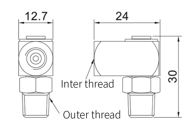 Movable Right Angle Joint dimensions